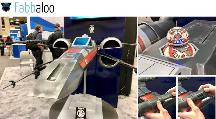 Design Of The Week: Giant X-Wing Fighter by Stefan Ulrich sponsored by Sindoh at SWW19 (Fabbaloo Review)